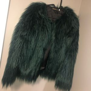 Emerald Green Faux Fur Coat